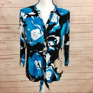 Dana Buchman Floral Abstract Button Down Blouse